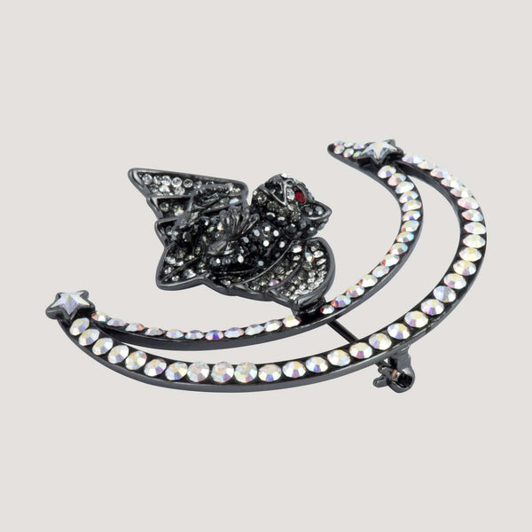 Crystal Bat with Crescent Moon Brooch