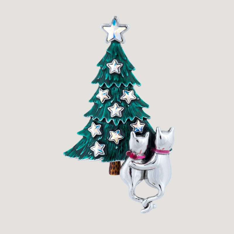 Cute Couple Kitty Christmas Tree Brooch