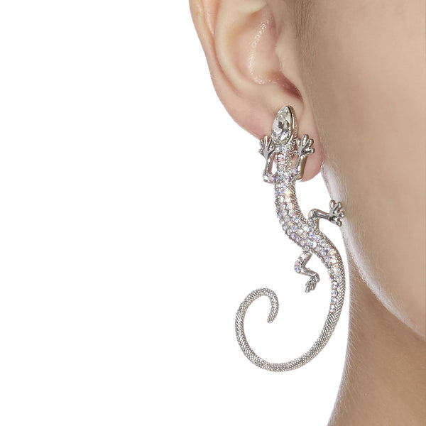 Crystal Lizard Long Tail Earrings