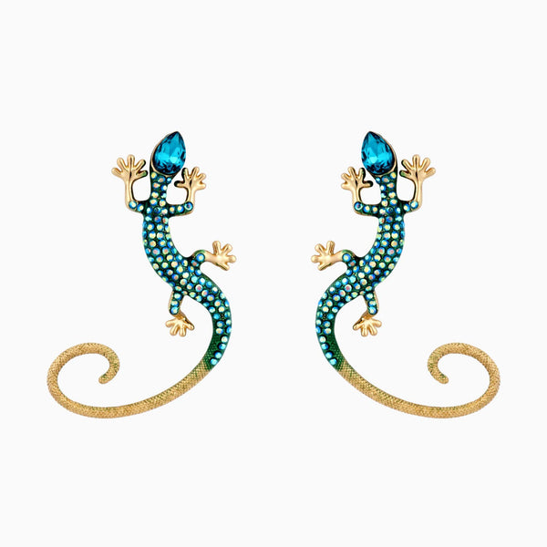 Crystal Lizard Long Tail Earrings & Ear Cuff