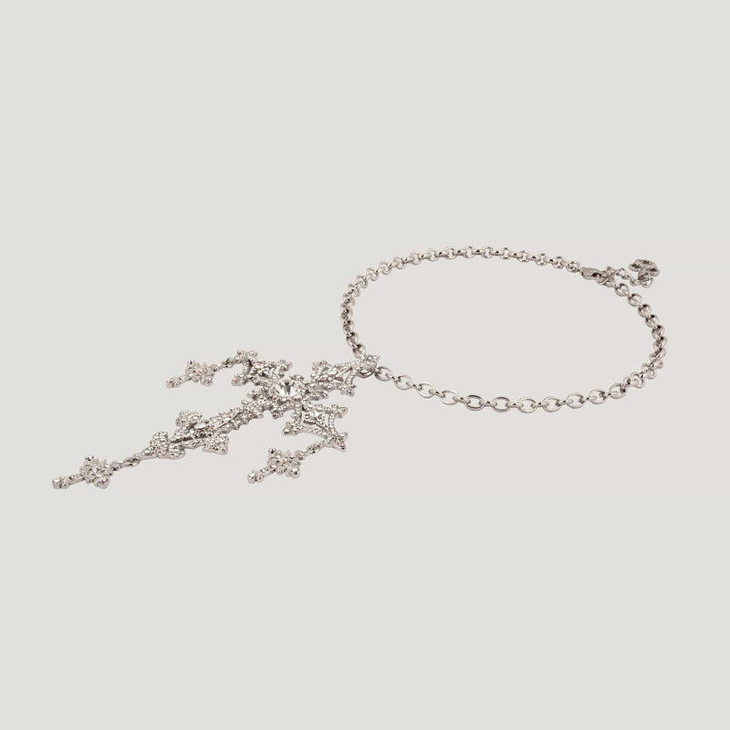 Large Filigree Crystal Cross Necklace