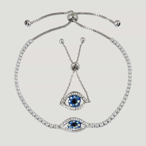 Adjustable Crystal Eye Ring & Bracelet Set