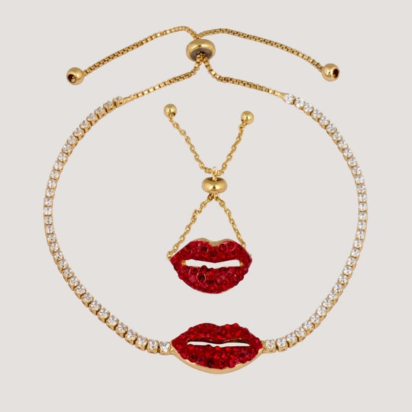 Adjustable Crystal Lip Ring & Bracelet Set