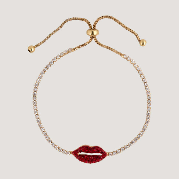 Crystal Tiny Lip Adjustable Bracelet