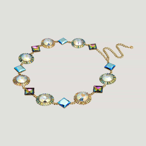 Faceted Stones Crystal Belt/ Necklace