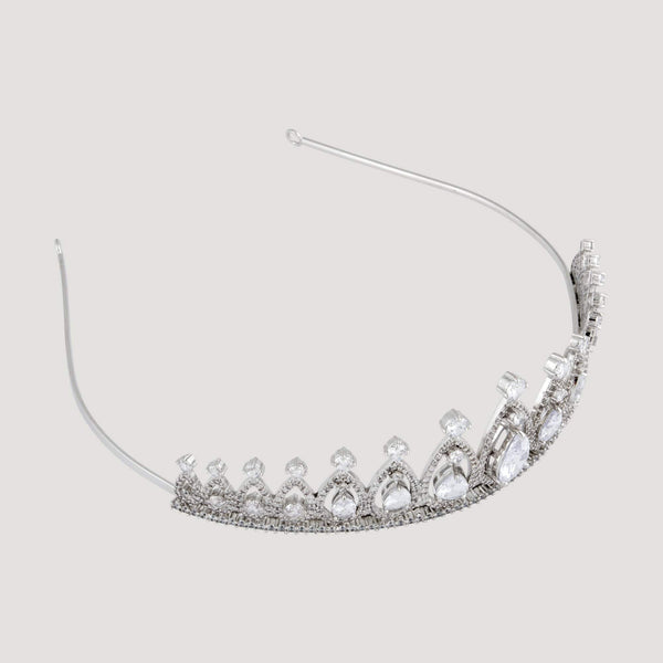 Five Pendulum Tear Drop Crystal Tiara