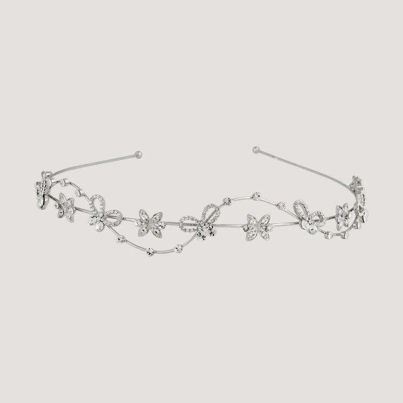 Adjustable Bow & Petal Crystal Headband
