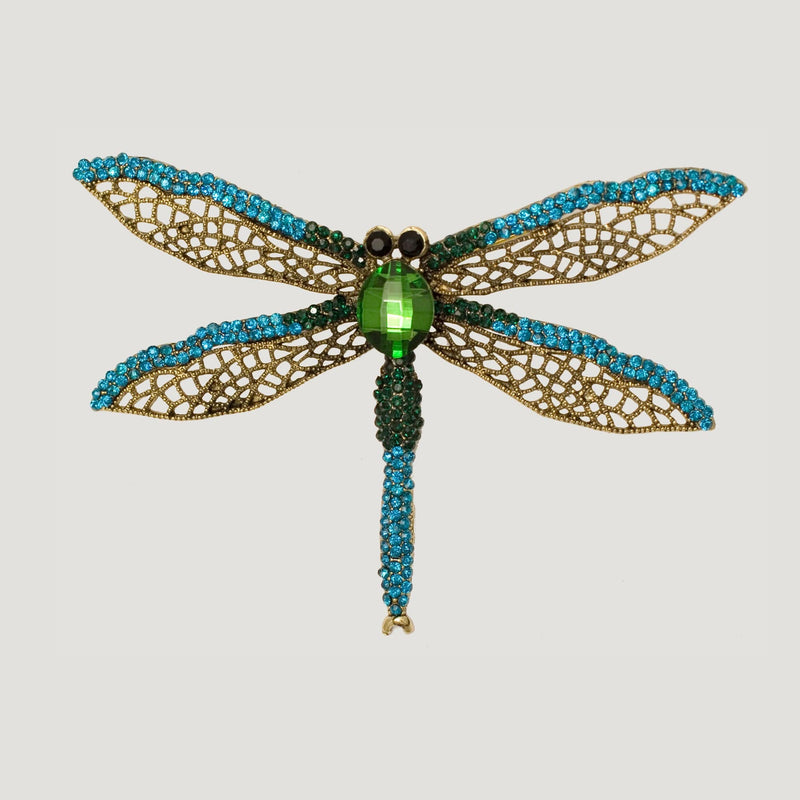 Pointed Dragon Fly Crystal Brooch- blue