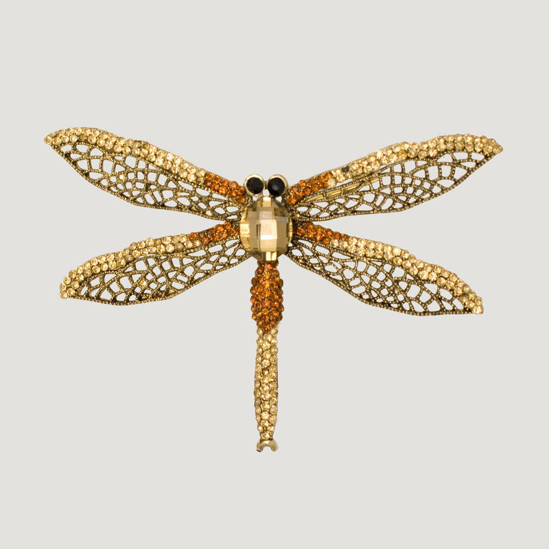 Pointed Dragon Fly Crystal Brooch-topaz