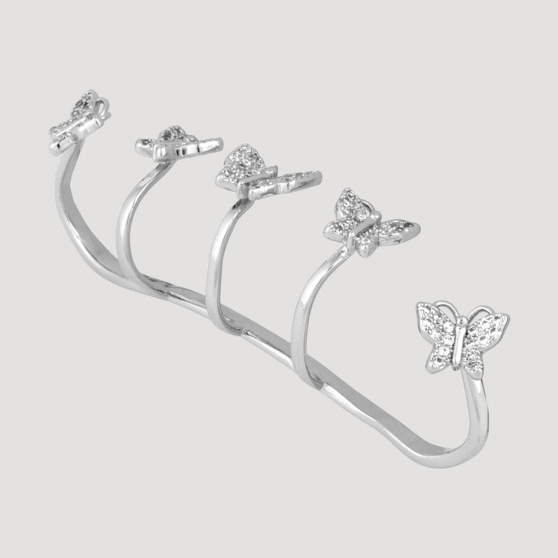 Adjustable Crystal Butterflies Five Finger Ring