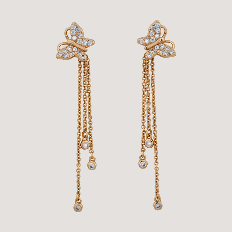 CZ Crystal Butterfly Drop Chain Earrings