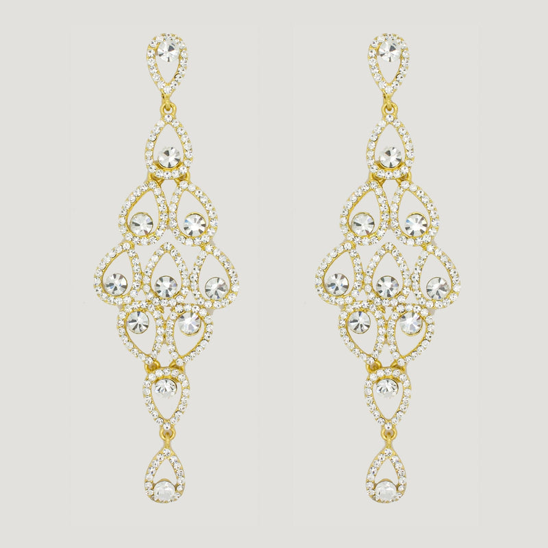 Long Chandelier Drop Earrings.- gold