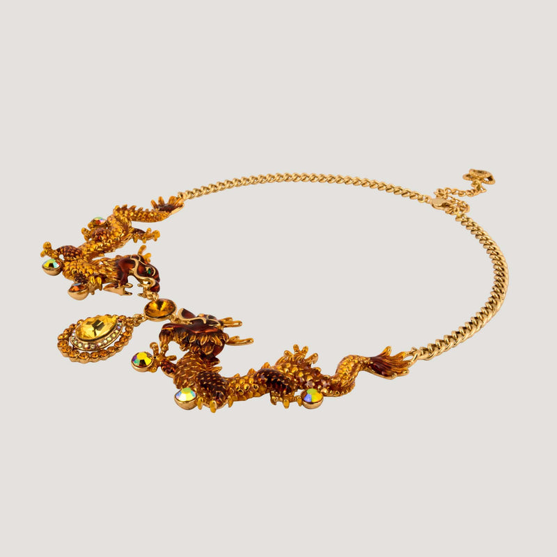 Chinese Dragons Crystal Drop Necklace
