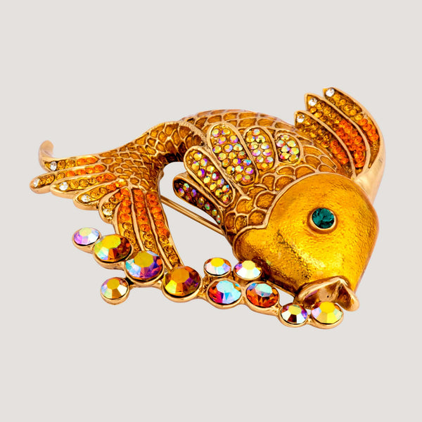 Crystal Fish with Bubbles Brooch