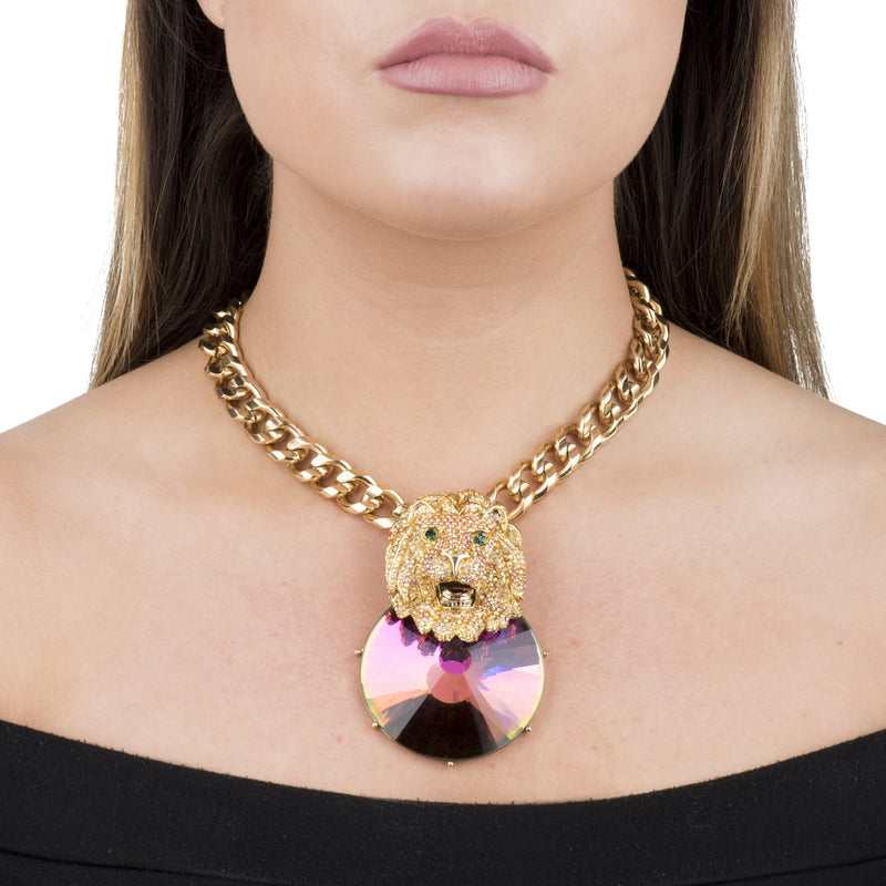 Lion Head Crystal Chain Necklace