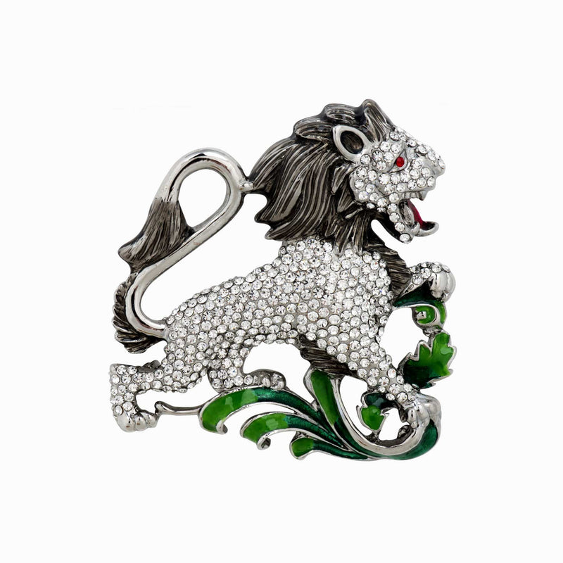 Crystal Lion Brooch