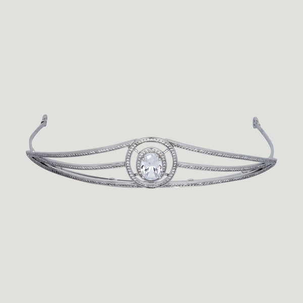 Oval Crystal Three Crystal Rows Tiara
