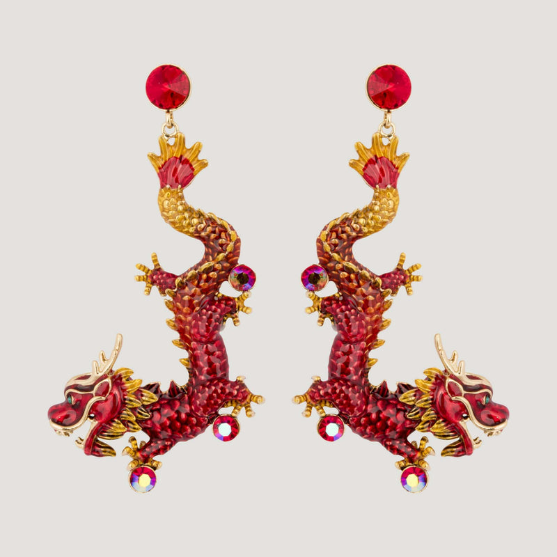Enamel Chinese Dragon Earrings