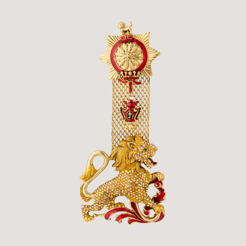 Crystal Lion And Medal Brooch