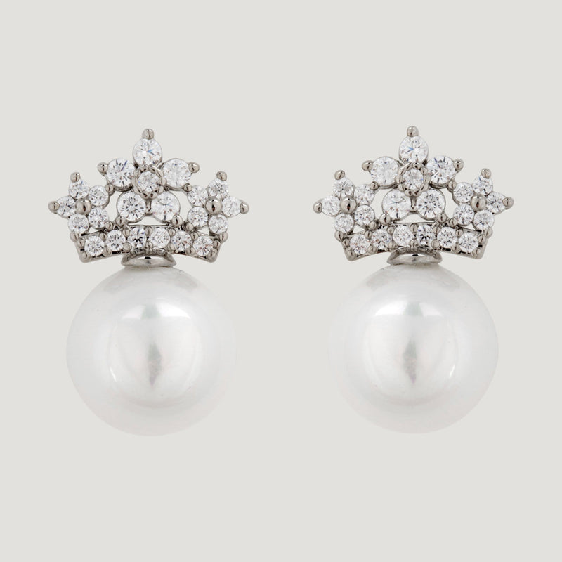 Sterling Silver Pearl Crown Earrings