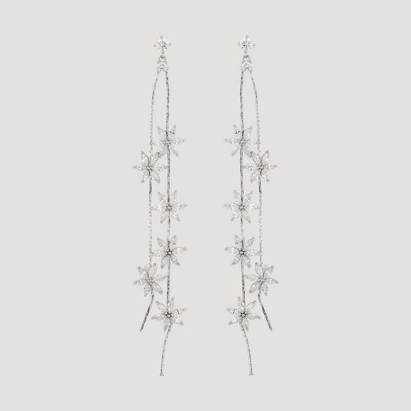 Sterling Silver Crystal Flower Drop Earrings