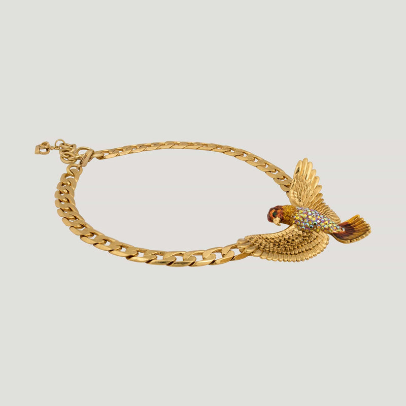 Crystal Falcon Chain Necklace