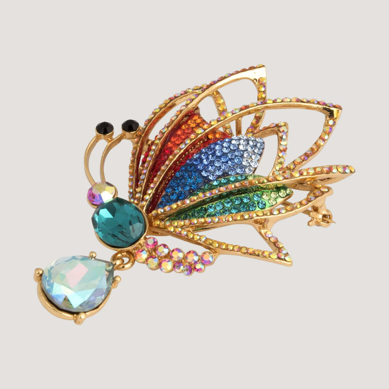 Crystal Butterfly and Teardrop Brooch