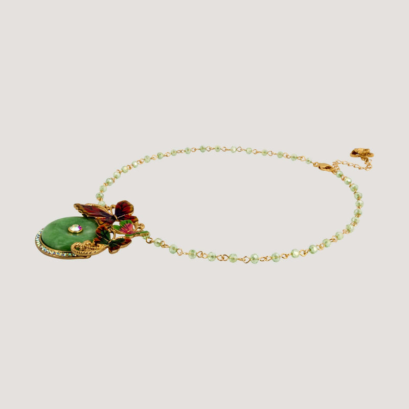 Circle Jade three Butterflies Necklace