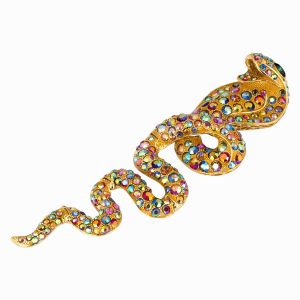 King Cobra Studded Crystal Brooch