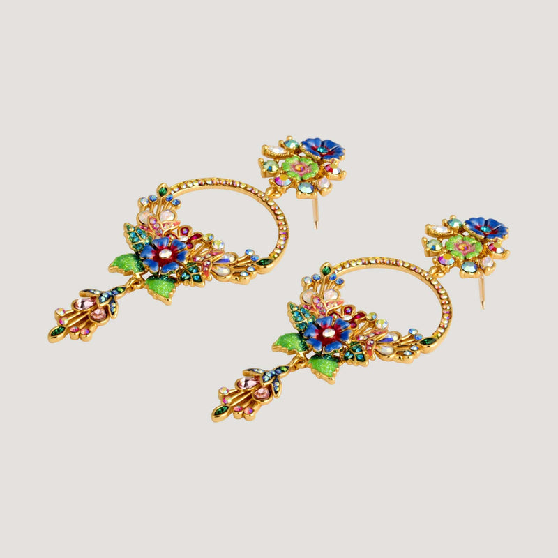 Elaborate Earrings with Flowers