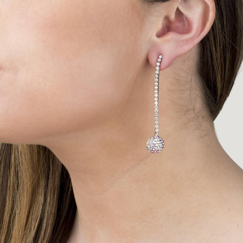 Crystal Ball Long Drop Earrings