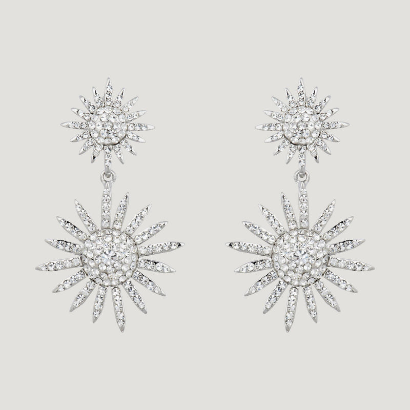 Two Crystal Stars Drop Earrings