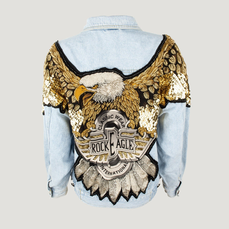 Sequin Eagle Back Jeans Jacket