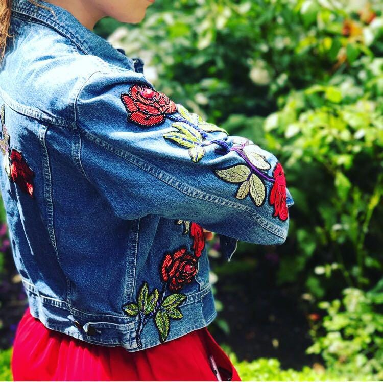 Sequin Roses Denim Jacket