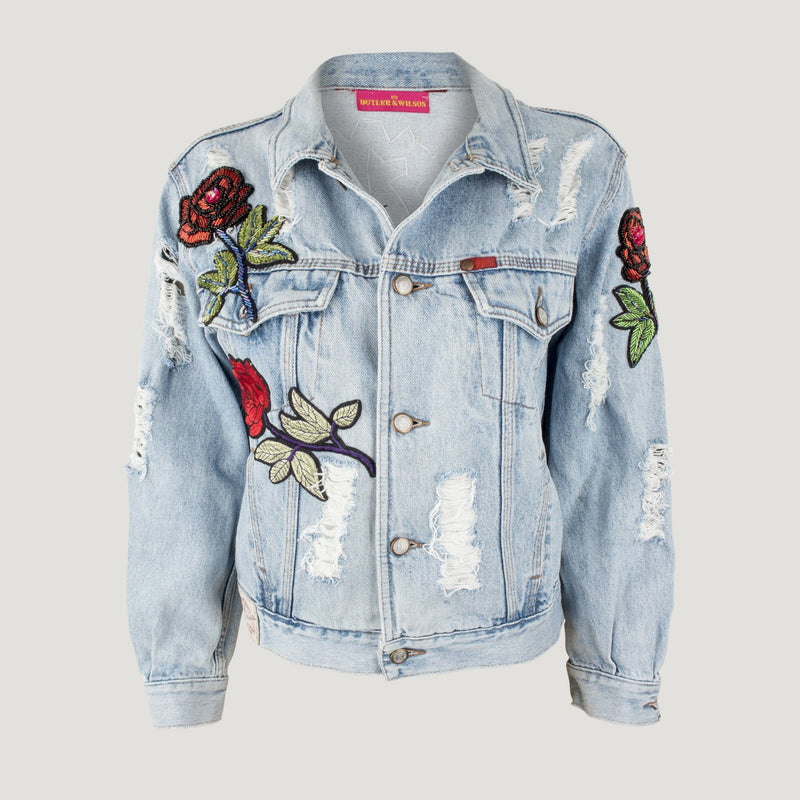 Beaded Cat Sequin Roses Jeans Jacket