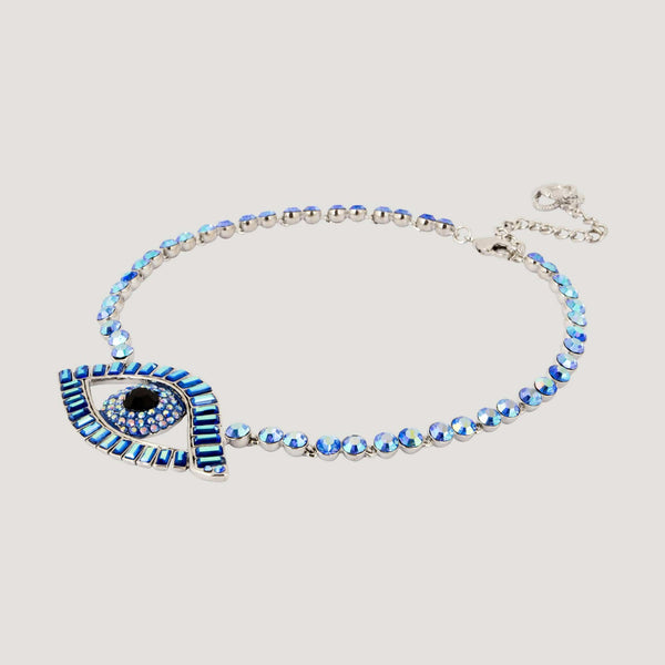 Crystal Baguette Stones Eye Necklace