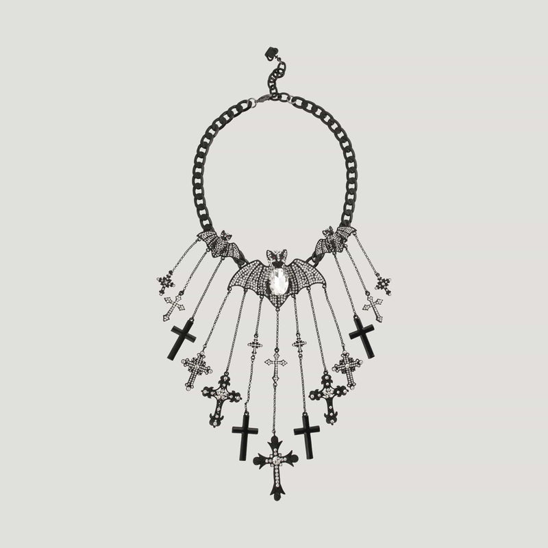 Couture Crystal Bat & Cross Pendant Necklace