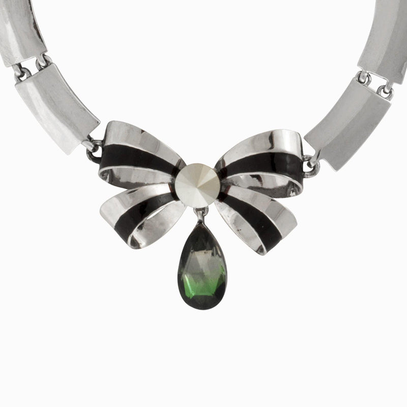 Bow with Teardrop Crystal Flat Bars Necklace