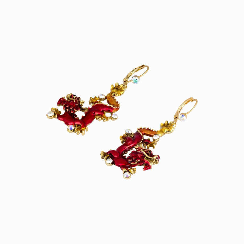 Chinese Dragon Hook Earrings