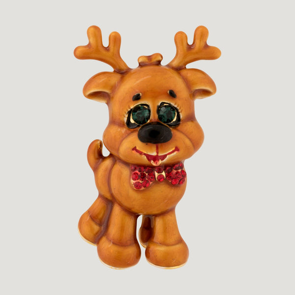 Happy Reindeer with Bow Brooch