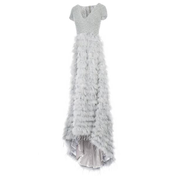 Pearl Top Feather Skirt Dress