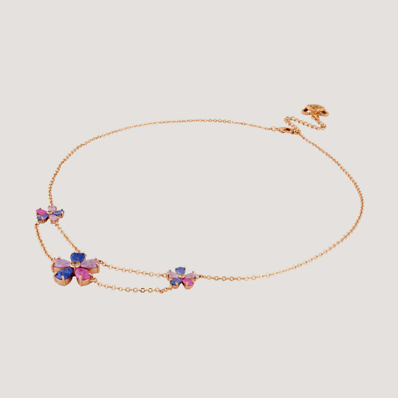 Three Crystal Flowers Chain Necklace