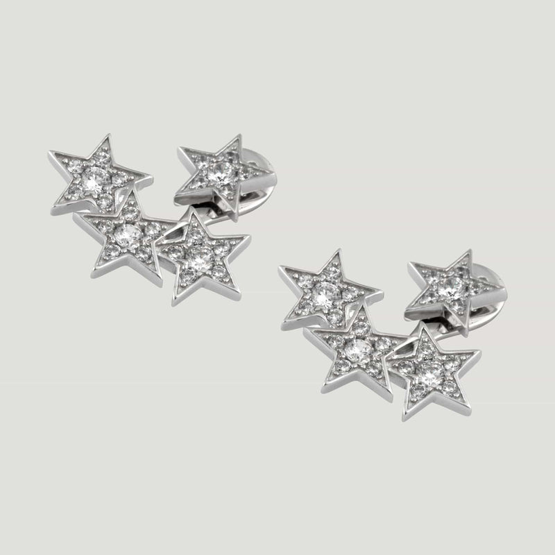 Sterling Silver Four Crystal Stars Earrings