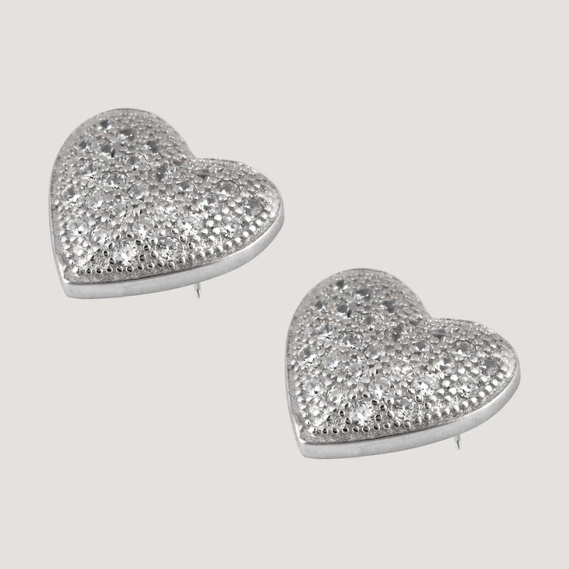 Silver CZ Crystal Delicate Heart Stud Earrings