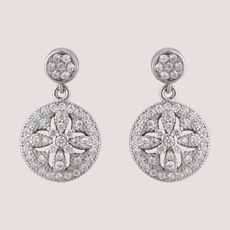Sterling Silver Crystal Circle Drop Earrings