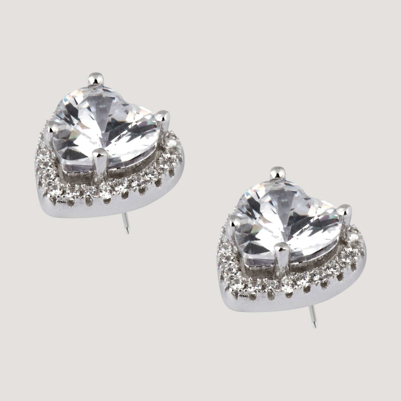 CZ Sterling Silver Heart Stud Earrings
