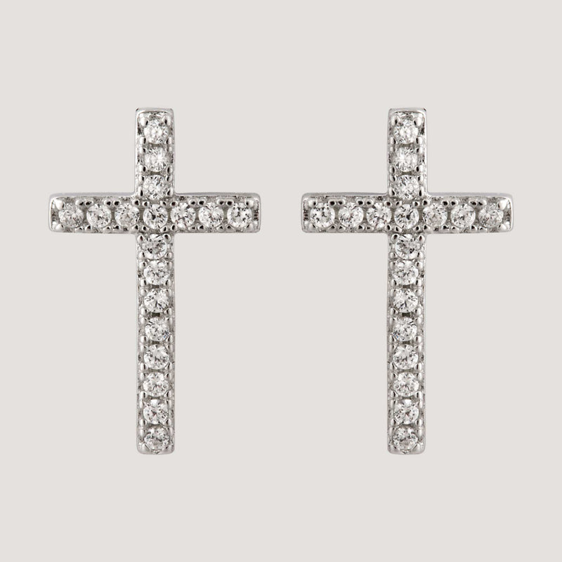 Sterling Silver CZ Crystal Cross Stud Earrings