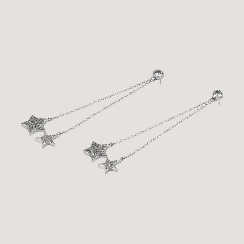 Sterling Silver CZ Crystal Stars Silver Drop Earrings
