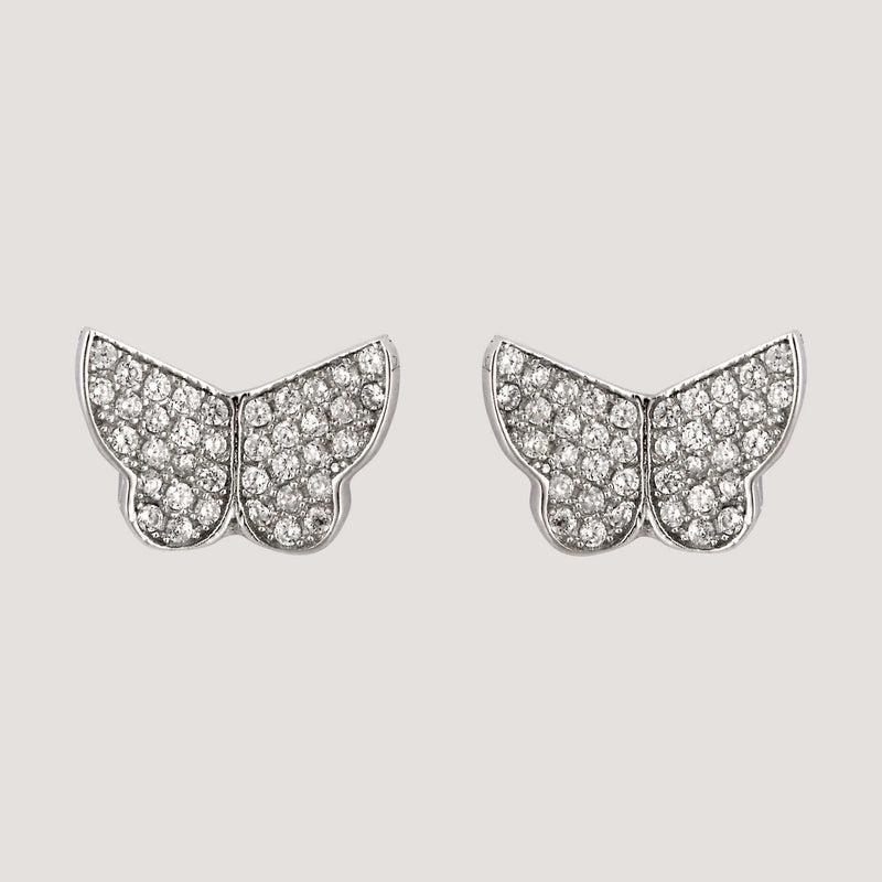 Sterling Silver CZ Crystal Butterfly Silver Earrings