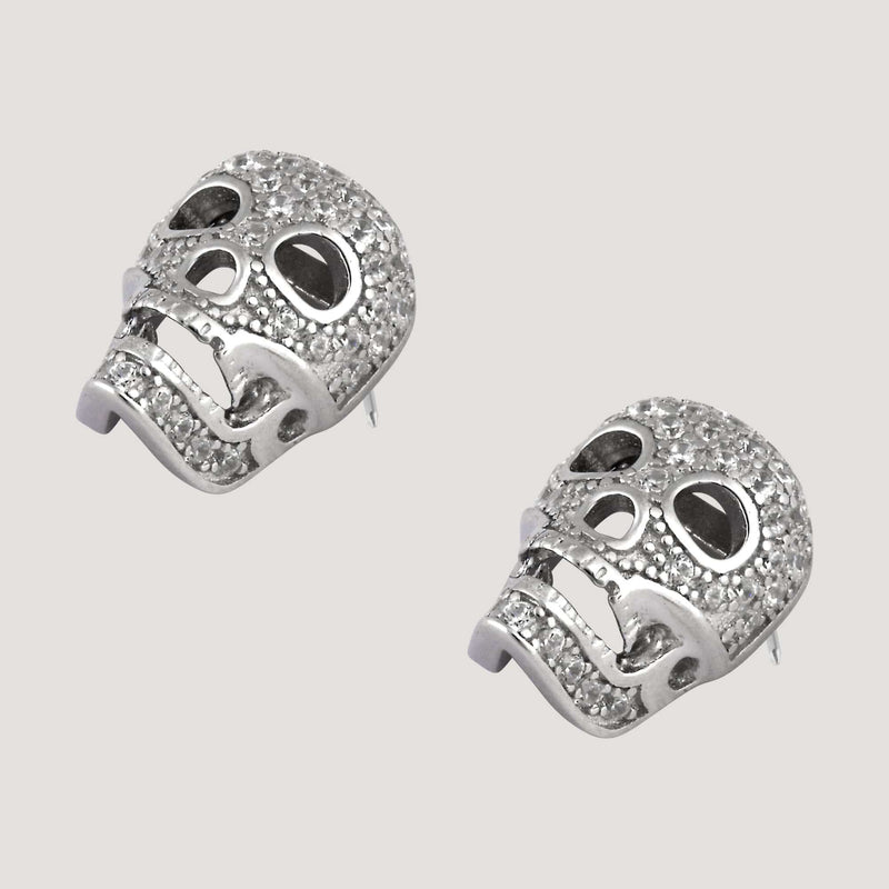 Sterling Silver CZ Crystal Skull Stud Earrings